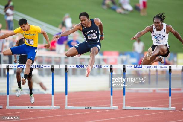 Sabiel Anderson of Lincoln Univeristy races towards the finish line in the Men's 400 Meter Hurdles during the NCAA Division II Outdoor Track and...