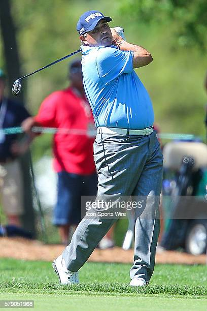Angel Cabrera hits his approach shot during third round action at the the Wells Fargo Championship Tournament at Quail Hollow Country Club Charlotte...