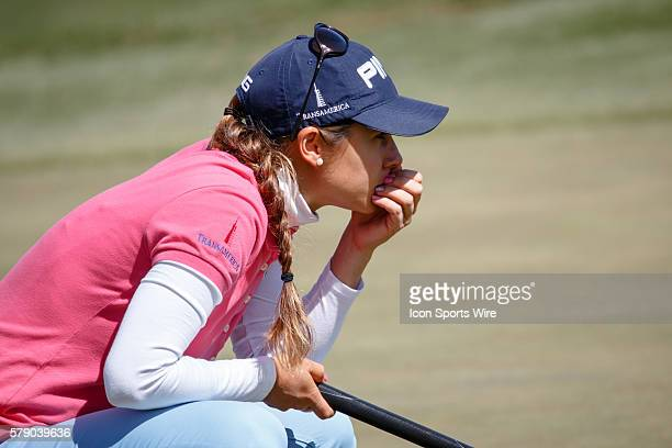 Azahara Munoz studies her putt on during the first round of the North Texas LPGA Shootout played at the Las Colinas Country Club in Irving TX