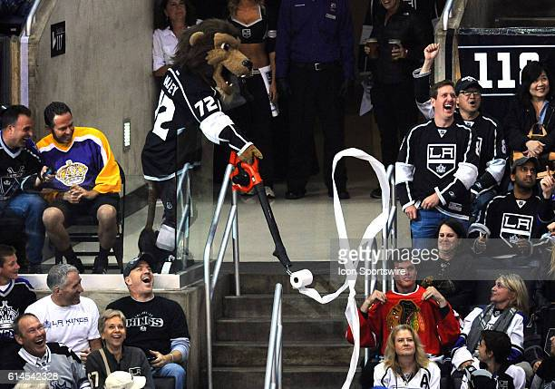 Bailey uses a leaf blower with toilet paper attached to taunt a Blackhawks fan during game 4 of the Western Conference Final between the Chicago...