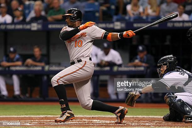 Baltimore Orioles center fielder Adam Jones at bat during the MLB regular season game between the Baltimore Orioles and Tampa Bay Rays at Tropicana...
