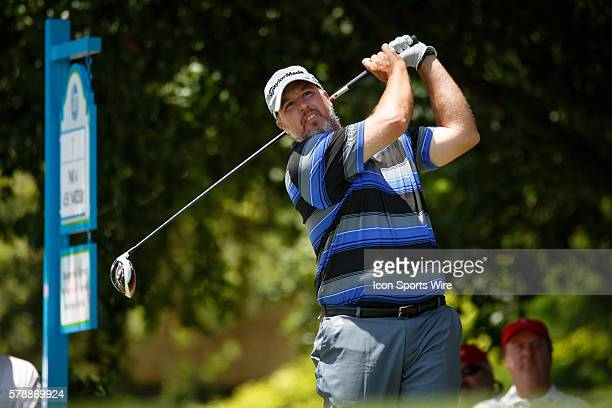 Boo Weekley hits his tee shot on during the final round of the HP Byron Nelson Championship held at the TPC Four Seasons Resort in Irving TX
