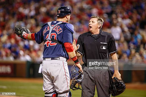 Boston Red Sox Catcher AJ Pierzynski [2014] argues a balk call with Home Plate Umpire Greg Gibson during the MLB baseball game between the Texas...