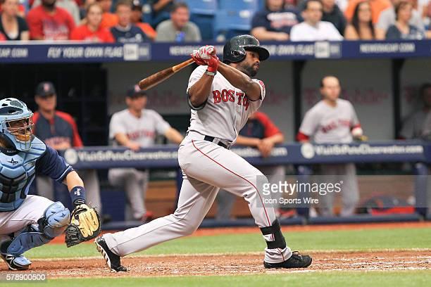 Boston Red Sox center fielder Jackie Bradley Jr at bat during the MLB regular season game between the Boston Red Sox and Tampa Bay Rays at Tropicana...
