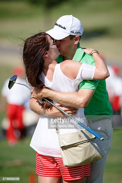Brendon Todd embraces his wife Rachel after the final round of the HP Byron Nelson Championship held at the TPC Four Seasons Resort in Irving TX...