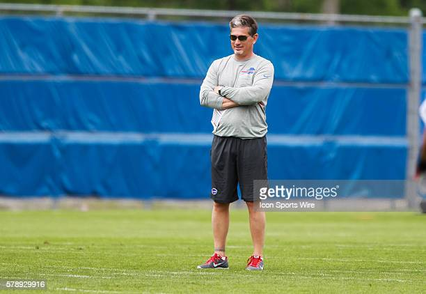 Buffalo Bills defensive coordinator Jim Schwartz in action during the 2014 Buffalo Bills OTA practice session at the Buffalo Bills Field House in...