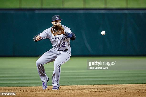 Colorado Rockies shortstop Troy Tulowitzki in action during the MLB baseball game between the Texas Rangers and Colorado Rockies at the Globe Life...