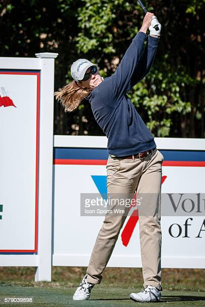 Cydney Clanton hits her tee shot on during the first round of the North Texas LPGA Shootout played at the Las Colinas Country Club in Irving TX