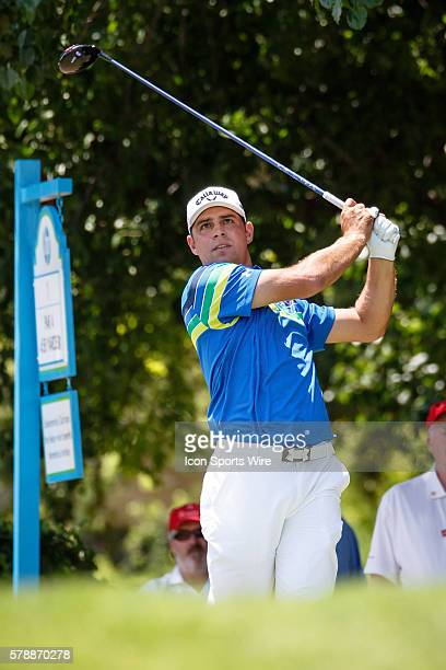 Gary Woodland hits his tee shot on during the final round of the HP Byron Nelson Championship held at the TPC Four Seasons Resort in Irving TX