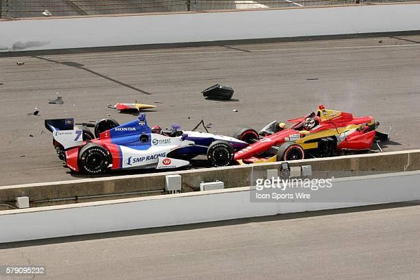 Indycar driver Mikhail Aleshin crashed into pole sitter Indycar driver Sebastian Saavedra at the start of the Grand Prix Of Indianapolis at the...