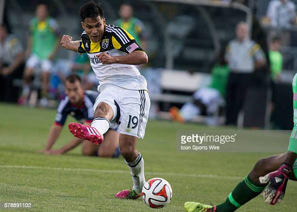 Jairo Arrieta of Columbus Crew shooting and scoring the 2nd goal of the night during the game between the Columbus Crew and the Chicago Fire at the...