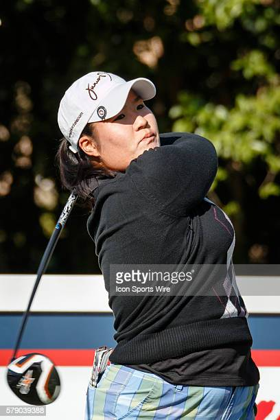 Jane Rah hits her tee shot on during the first round of the North Texas LPGA Shootout played at the Las Colinas Country Club in Irving TX