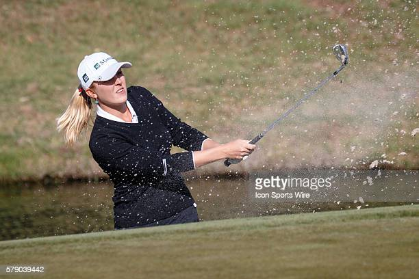 Jennifer Kirby hits from the sand on during the first round of the North Texas LPGA Shootout played at the Las Colinas Country Club in Irving TX
