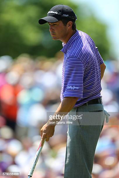 Kevin Kisner eyes his line during third round action at the the Wells Fargo Championship Tournament at Quail Hollow Country Club Charlotte North...