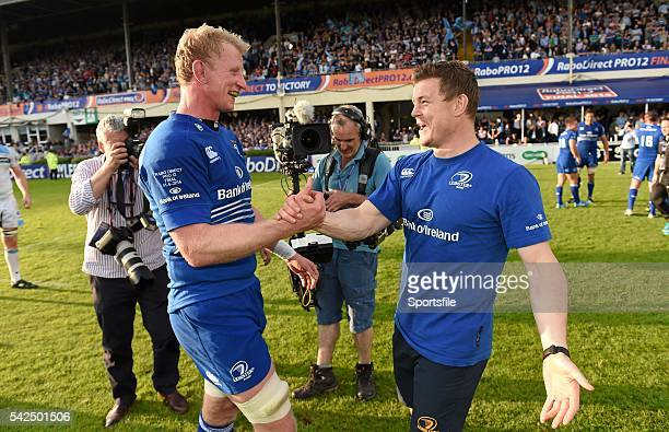 May 2014; Leinster's Leo Cullen, left, and Brian O'Driscoll shake hands after victory over Glasgow Warriors, their final game in professional rugby....