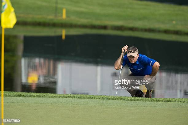 Mark Wilson lines up a putt during the first round of the Memorial Tournament held at the Muirfield Village Golf Club in Dublin OH