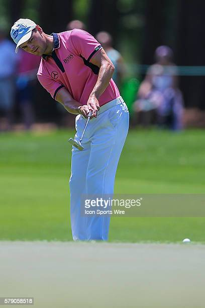 Martin Kaymer putts from the fringe during third round action at the the Wells Fargo Championship Tournament at Quail Hollow Country Club Charlotte...