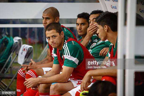 Mexico forward Javier Hernandez sits on the bench during the international soccer friendly match between the Mexico and Ecuador National Teams at ATT...