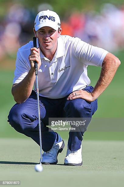 Michael Thompson eyes the green during third round action at the the Wells Fargo Championship Tournament at Quail Hollow Country Club Charlotte North...
