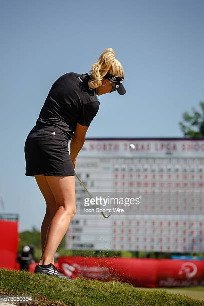 Natalie Gulbis chips onto the 18th green during the final round of the North Texas LPGA Shootout played at the Las Colinas Country Club in Irving TX