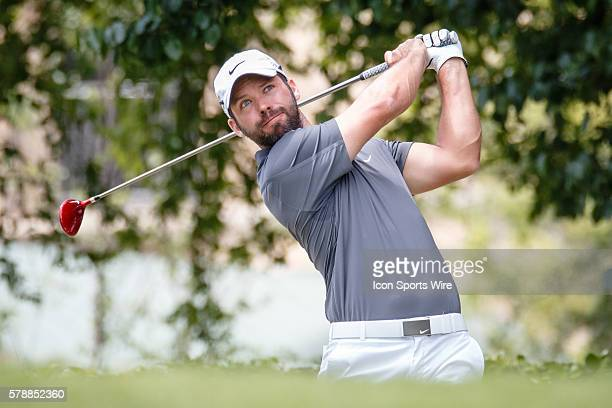 Paul Casey of England hits his opening tee shot on during the 3rd round of the HP Byron Nelson Championship held at the TPC Four Seasons Resort in...