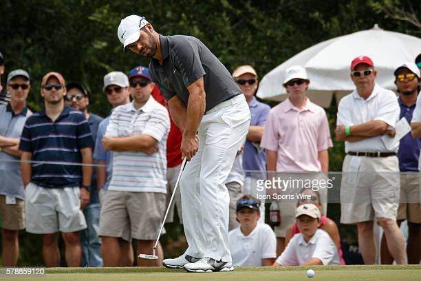 Paul Casey of England putts on the 1st hole during the 3rd round of the HP Byron Nelson Championship held at the TPC Four Seasons Resort in Irving TX
