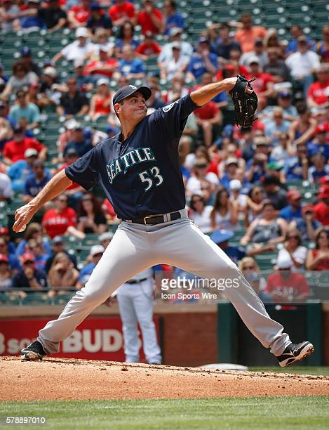 Seattle Mariners Pitcher Chris Young [3660] struggles during the first inning of the MLB game between the Seattle Mariners and Texas Rangers played...