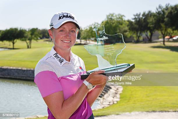 Stacy Lewis holds the winner's trophy after the final round of the North Texas LPGA Shootout played at the Las Colinas Country Club in Irving TX...