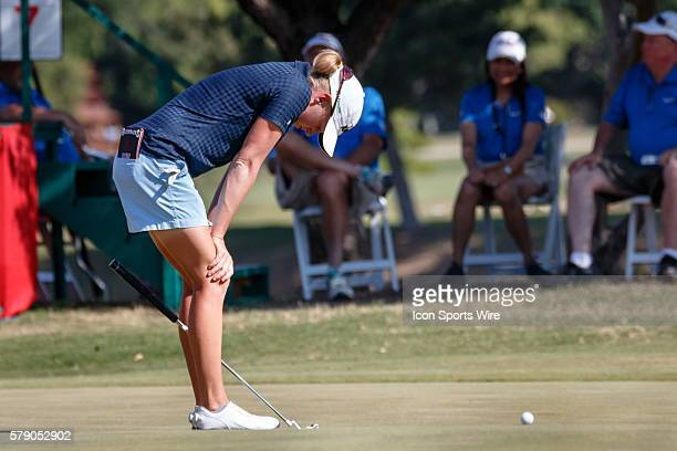 Stacy Lewis reacts after missing her birdie putt on during the third round of the North Texas LPGA Shootout played at the Las Colinas Country Club in...