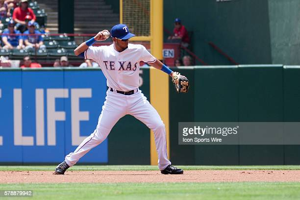 Texas Rangers Infield Luis Sardinas [8619] makes a play during the MLB game between the Seattle Mariners and Texas Rangers played at Globe Life Park...