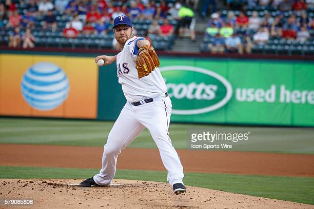 Texas Rangers starting pitcher Colby Lewis in action during the MLB baseball game between the Texas Rangers and Colorado Rockies at the Globe Life...