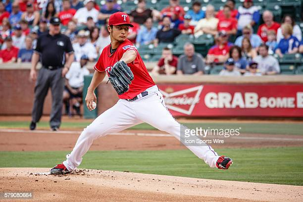 Texas Rangers Starting pitcher Yu Darvish [7229] in action during the MLB baseball game between the Texas Rangers and Boston Red Sox at the Globe...