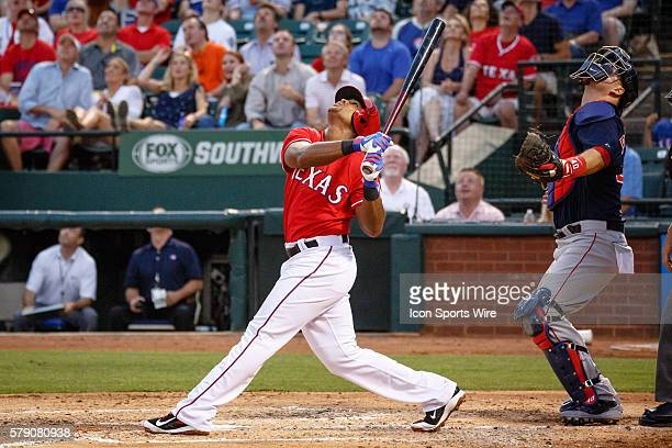 Texas Rangers Third base Adrian Beltre [1597] hits a towering foul ball during the MLB baseball game between the Texas Rangers and Boston Red Sox at...