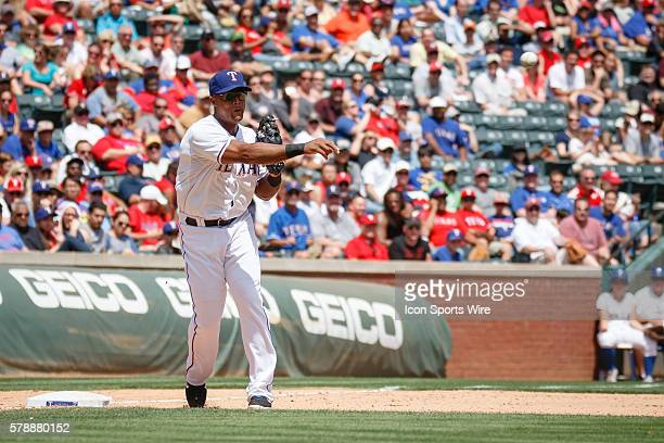 Texas Rangers Third base Adrian Beltre [1597] touches 3rd and fires to 1st to complete a double play during the MLB game between the Seattle Mariners...