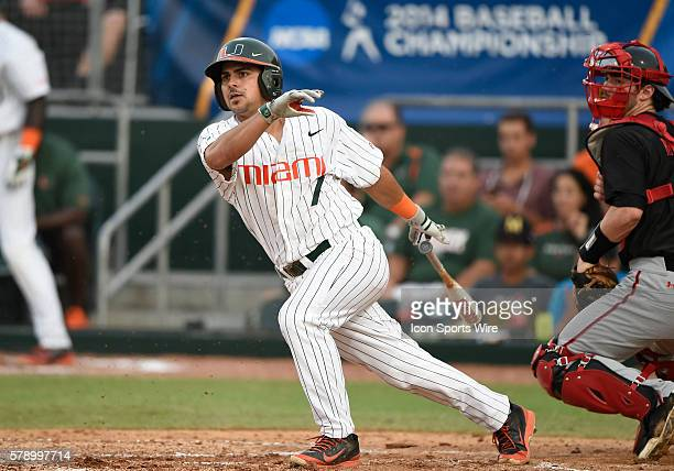 University of Miami infielder Alex Hernandez at bat against Texas Tech University at Alex Rodriguez Park at Mark Light Field Coral Gables Florida in...