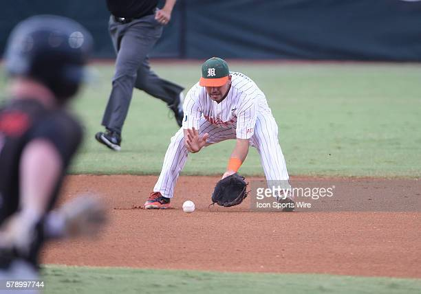 University of Miami infielder Alex Hernandez fields a ground ball against Texas Tech University at Alex Rodriguez Park at Mark Light Field Coral...
