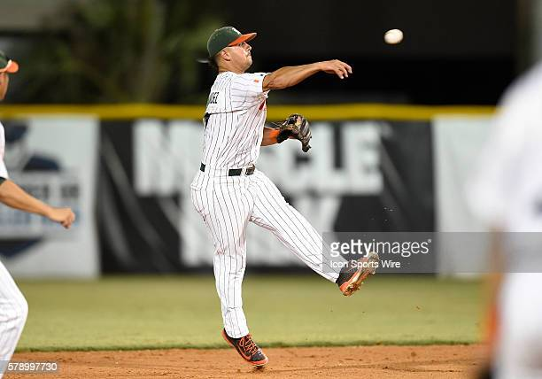 University of Miami infielder Alex Hernandez plays against Texas Tech University at Alex Rodriguez Park at Mark Light Field Coral Gables Florida in...