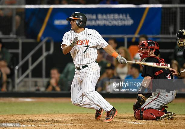 University of Miami infielder Alex Hernandez singles against Texas Tech University at Alex Rodriguez Park at Mark Light Field Coral Gables Florida in...