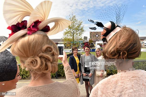 1 May 2015 Anne Marie Phelan Kilkenny takes a picture of friends from left Claire Frewney Clare Rose Brennan Cork and Denise Sexton Clare Punchestown...