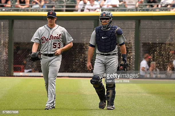 Battery mates Alex Avila and Kyle Lobstein prior to playing in a baseball game between the Chicago White Sox and Detroit Tigers at US Cellular Field...