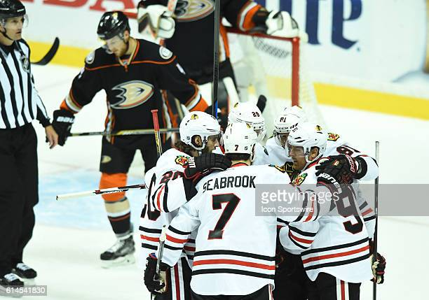 Chicago Blackhawks Right Wing Marian Hossa [1098] celebrates with his team mates after the Blackhawks scored their second goal of the game in the...