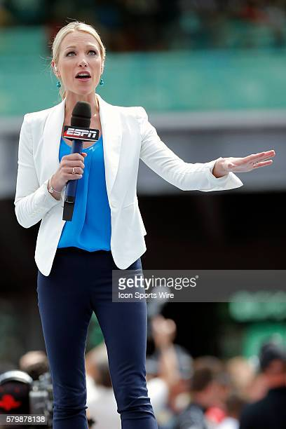 ESPN's Lindsay Czarniak during the 99th running of the Indianapolis 500 at the Indianapolis Motor Speedway Indianapolis IN