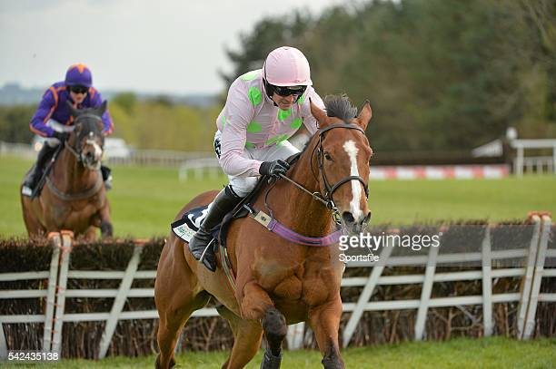 1 May 2015 Faugheen with Ruby Walsh up on their way to winning the Queally Group Celebrating 35 Years In Naas Punchestown Champion Hurdle from second...