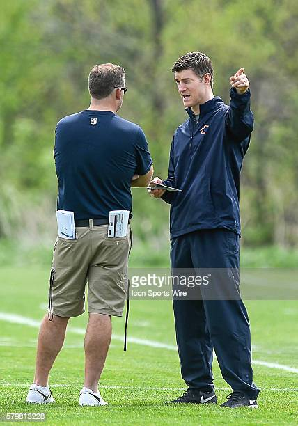 Firstyear Chicago Bears general manager Ryan Pace in action during the Chicago Bears Rookie minicamp at Halas Hall in Lake Forest IL
