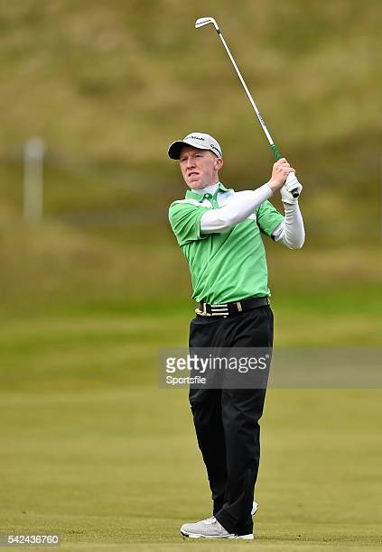 28 May 2015 Gavin Moynihan Ireland hits his second shot from the 9th fairway Dubai Duty Free Irish Open Golf Championship 2015 Day 1 Royal County...