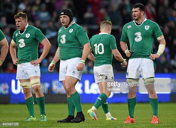 May 2015; Ireland's Jordi Murphy, Mike Ross, and Ben Marshall. International Rugby Friendly, Ireland v Barbarians. Thomond Park, Limerick. Picture...
