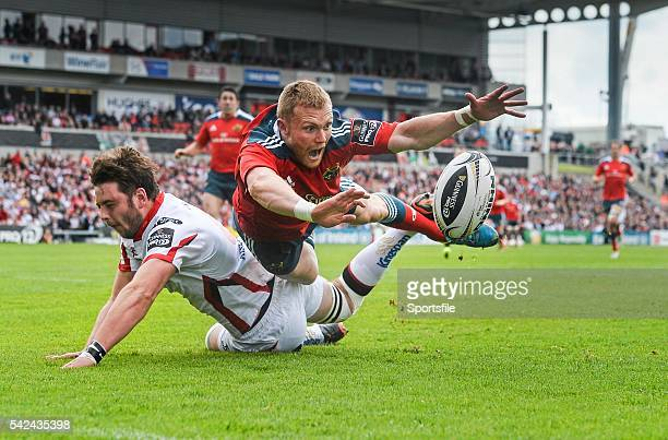 9 May 2015 Keith Earls Munster in action against Iain Henderson Ulster Guinness PRO12 Round 21 Ulster v Munster Kingspan Stadium Ravenhill Park...