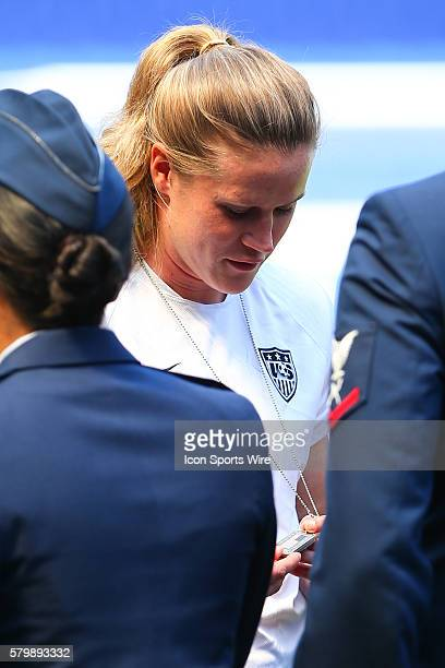 US Womens National Team goalkeeper Alyssa Naeher on the field at Red Bull Arena in HarrisonNJ during practice on the day before the send off series...