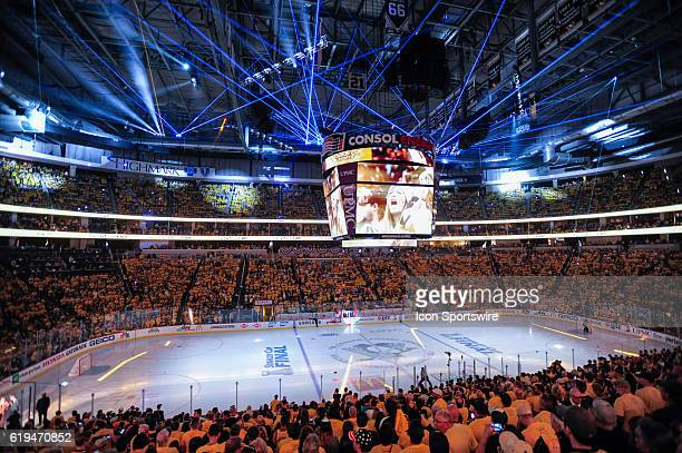 General view of a laser light show prior to the start of the first period Game One was won 32 by the Pittsburgh Penguins against the San Jose Sharks...
