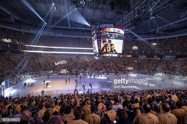 General view of the ice and a laser light show as the teams take the ice prior to the puck drop The Pittsburgh Penguins went on win 43 in overtime...
